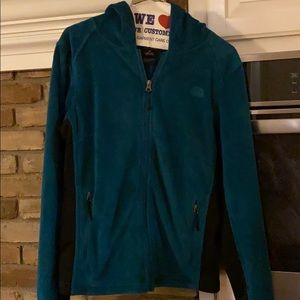 Teal hooded north face